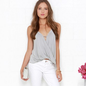 Fashionable Solid V Neck Tank
