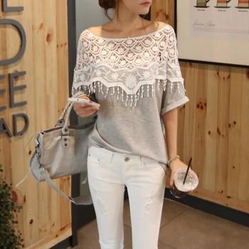 Trendy Lace Crochet Bat Sleeves Tee