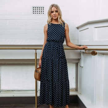 Stunning Dotted Sleeveless Maxi Dress