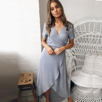 Chic V Neck Asymmetric Short-sleeve Dress