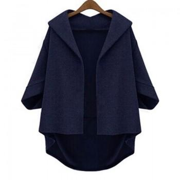 Pretty Solid Crop Sleeves Plus-size Cardigan