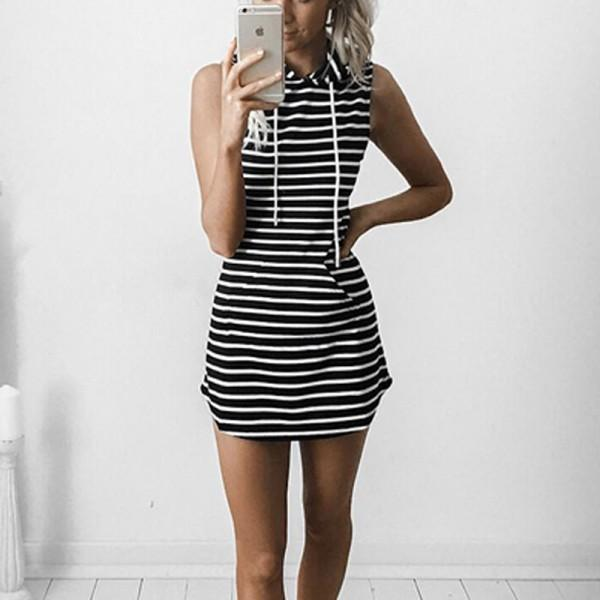 Trendy Hooded Sleeveless Body-con Dress