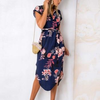 Chic Floral V Neck Short-sleeve Midi Dress