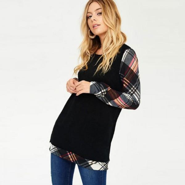 Trendy Plaid Decor Long-sleeve Top
