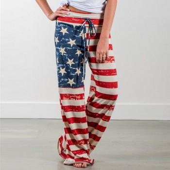 Chic American Flag Design Pants