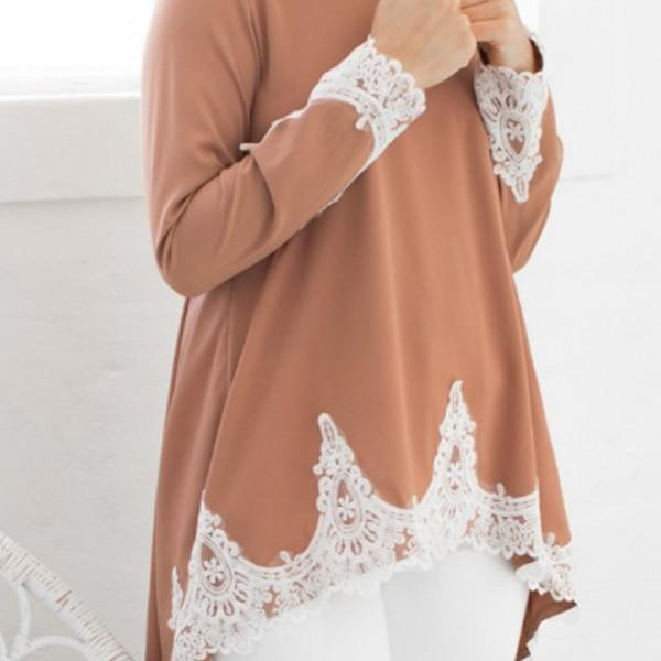 Graceful Lace Asymmetric Long-sleeve Top