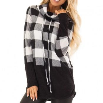 Fashionable Plaid Color Contrast Top