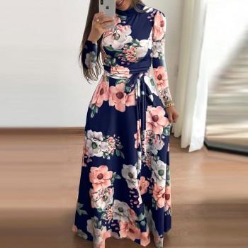 Stunning Floral Print Long-sleeve Maxi Dress