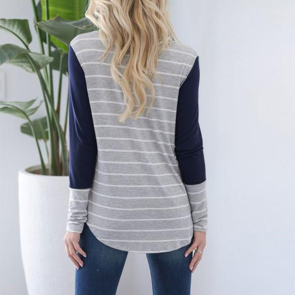 Stylish Contrast Striped Long-sleeve Top