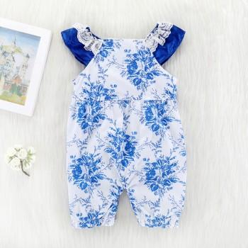 Pretty Floral Flounce-sleeve Jumpsuit for Baby Girl