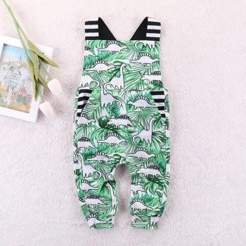 Cute Dinosaur Print Slip Jumpsuit in Green for Baby Boy