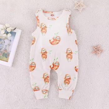 Cute Sloth Patterned Sleeveless Jumpsuit in White for Baby