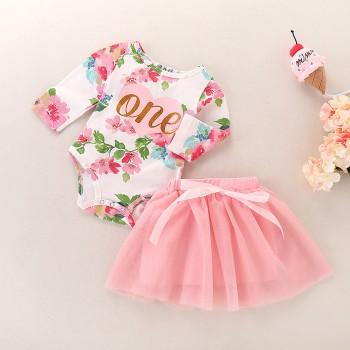 2-piece Sweet Floral Bodysuit and Pink Tulle Skirt Set for Baby Girl