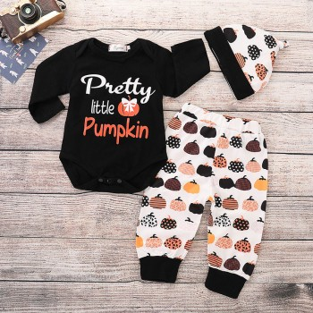 3-piece Comfy Letter Print Romper, Pumpkin Patterned Pants and Hat Set for Baby