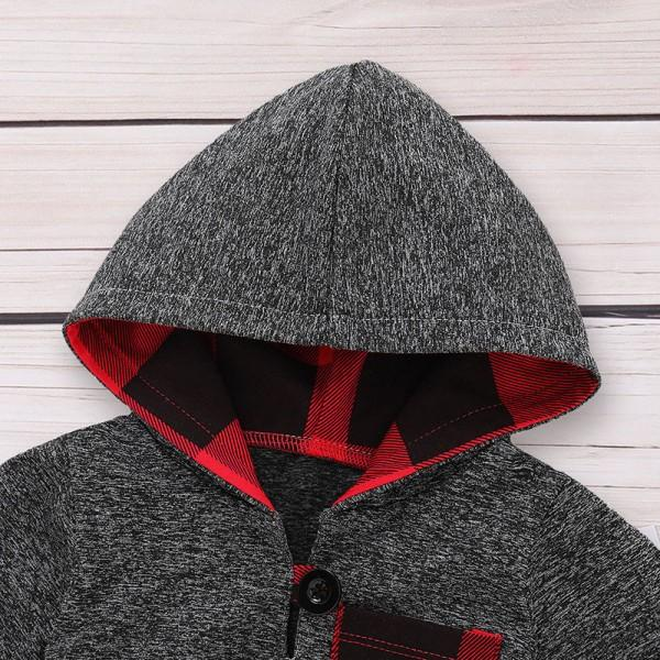 Stylish Plaid Design Long-sleeve Hooded Top and Pants Set for Baby