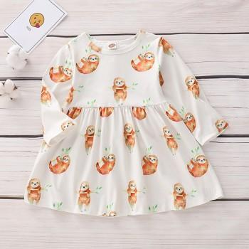 Lovely Sloth Pattern Long-sleeve Dress for Baby Girl