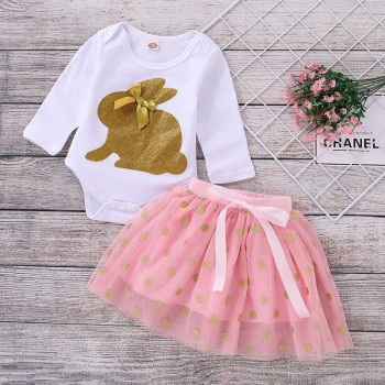 Lovely Gilding Rabbit Long-sleeve Bodysuit and Dotted Tulle Skirt Set