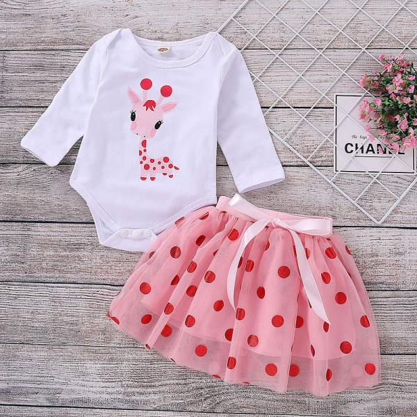 Adorable Dotted Giraffe Pattern Bodysuit and Tulle Skirt Set  in White