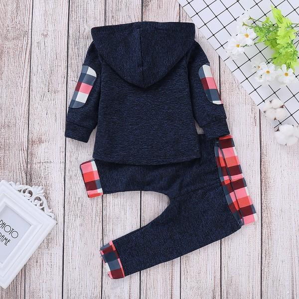 Trendy Plaid Design Long-sleeve Hoodie and Pants Set