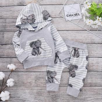 Cute Elephant Patterned Hoodie and Pants Set