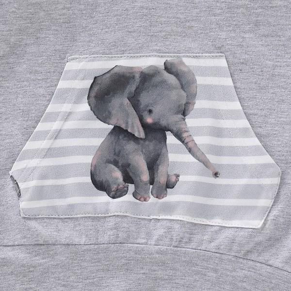 Cute Elephant Patterned Hoodie and Pants Set