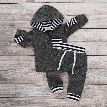 Trendy Striped Design Long-sleeve Hoodie and Pants Set