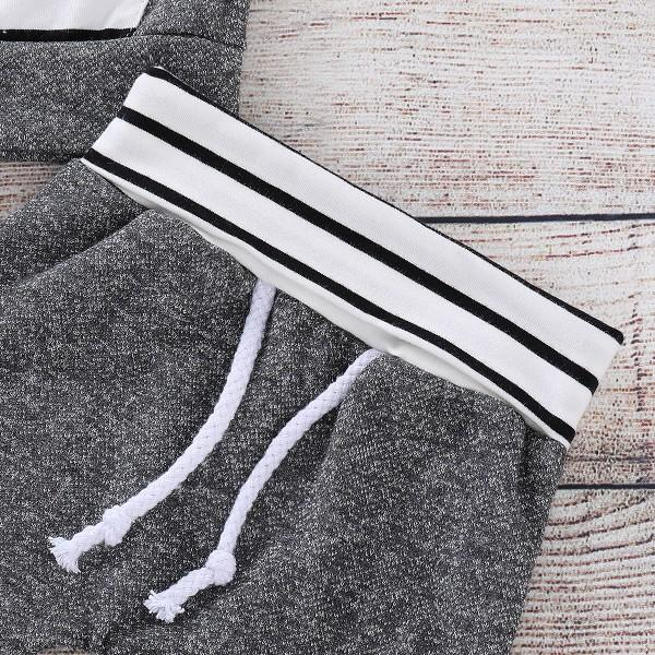 Casual Striped Design Long-sleeve Hoodie and Pants Set