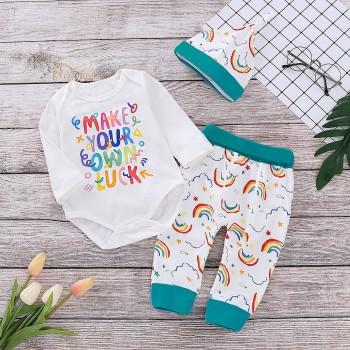 Fashionable Letter Print Long-sleeve Romper, Rainbow Patterned Pants and Hat Set