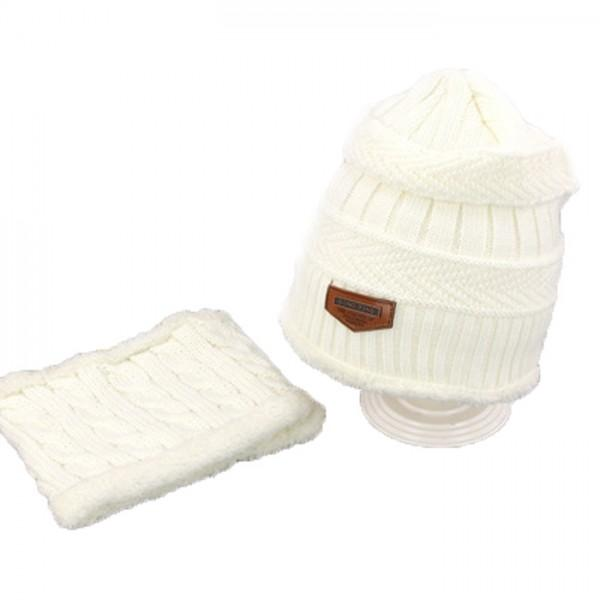 2-piece Warm Knitted Hat and Neck Warmer Set for Toddler and Kid