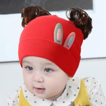 c76b6da55d1 ... switzerland baby girls cute rabbit ear decor cotton hat with wig bfce5  0aebb