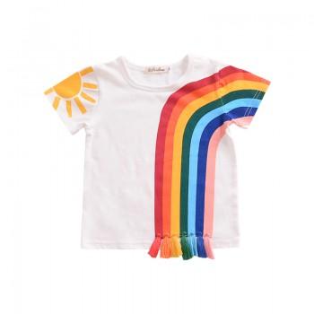 Pretty Rainbow Print Tassel Short-sleeve Tee for Baby and Toddler Girl