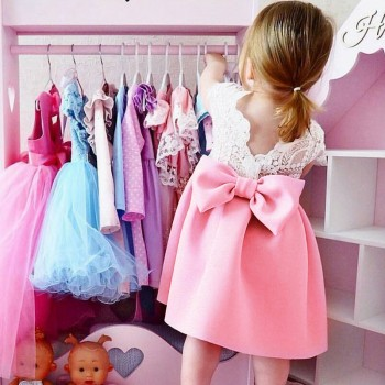 Beautiful Bow Decor Flutter-sleeve Dress for Toddler Girl