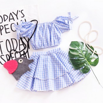 Trendy Plaid Puff-sleeve Cropped Top and Cake Skirt Set for Toddler Girl and Girl