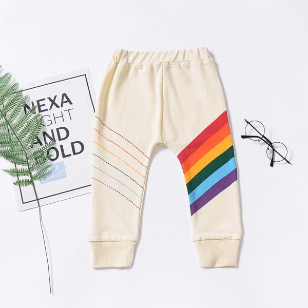 Stylish Rainbow Print Splice cuff Pants