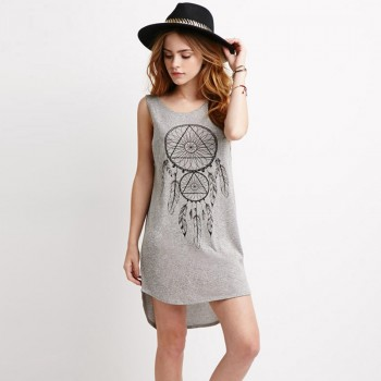 Sexy Printed Backless Sleeveless Dress in Grey for Women