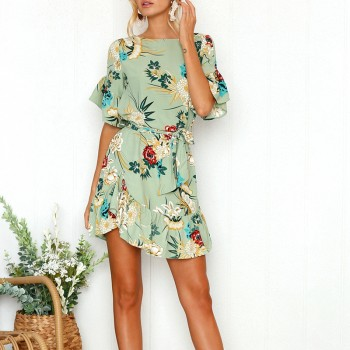 Beautiful Flower Print Ruffle Short Sleeve Dress for Women