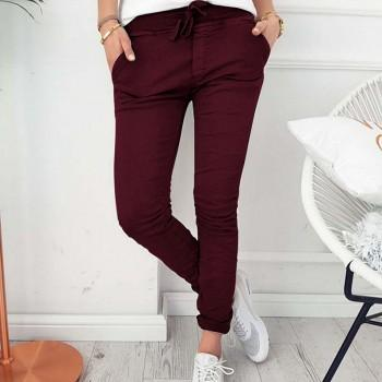 Casual Solid Bowknot Decor Pants