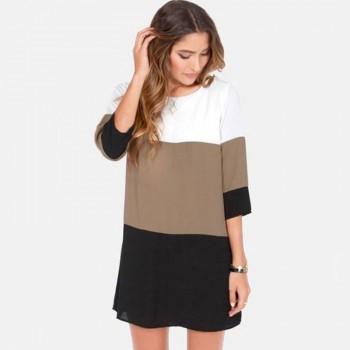 Stylish Three Color Block Short Sleeves Loose Dress