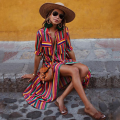 Loose Stripe Shirt Half-sleeve Maxi Dress