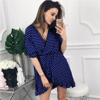 Sexy Polka Dots V-neck Ruffle Dress