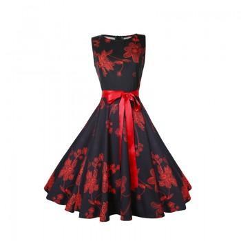 Graceful Retro Flower Print Waist Sleeveless Dress with Belt