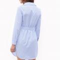 Appliqued Striped Shirt Dress