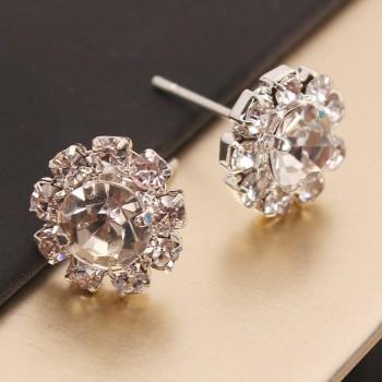 1-pair Zircon Stud Flower Earrings