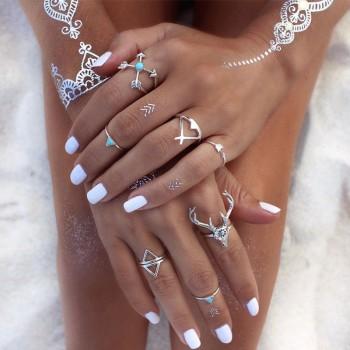 7-piece Trendy Elk Design Silver Ring for Women