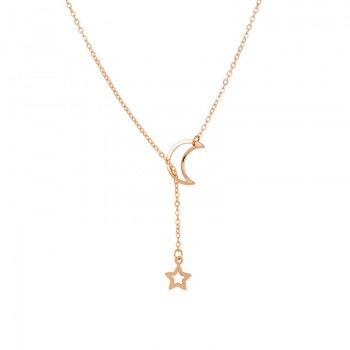 Women Elegant Hollow out Moon and Star Design Alloy Necklace
