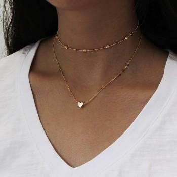 Trendy Chain Multiple Heart Design Necklace for Women