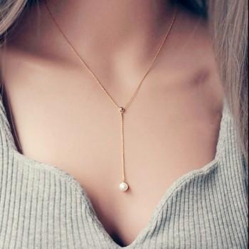 Elegant Pearl Decor Tassel Necklace