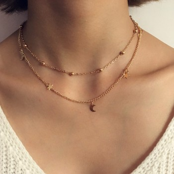 Pretty Two-tier Moon Star Necklace