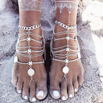 Retro Tassels Coin Beach Anklets