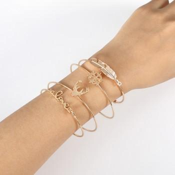 4-piece Trendy Solid Elk Shaped Bracelet